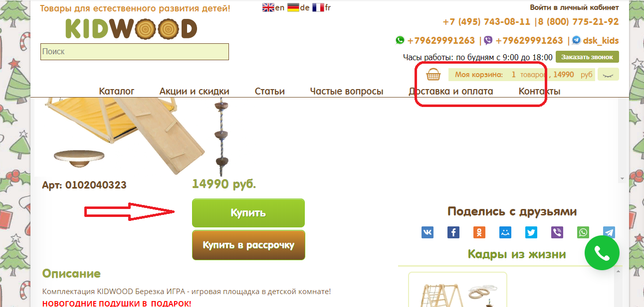 Просмотр выбранных товаров в интернет-магазине Kidwood